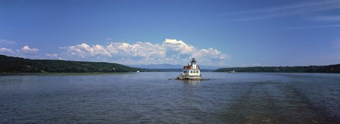 Framed Lighthouse at a river, Esopus Meadows Lighthouse, Hudson River, New York State, USA Print