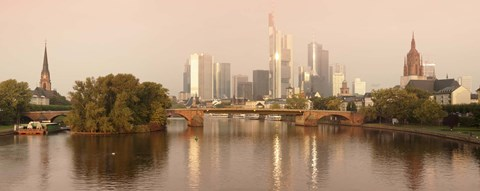 Framed City at the waterfront, Main River, Frankfurt, Hesse, Germany Print