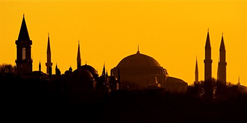 Framed Silhouette of a mosque, Blue Mosque, Istanbul, Turkey Print