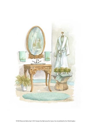 Framed Watercolor Bath in Spa I Print