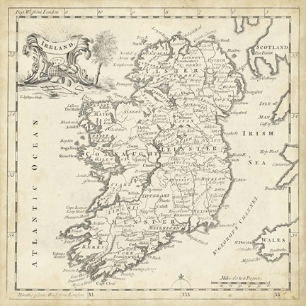 Framed Map of Ireland Print