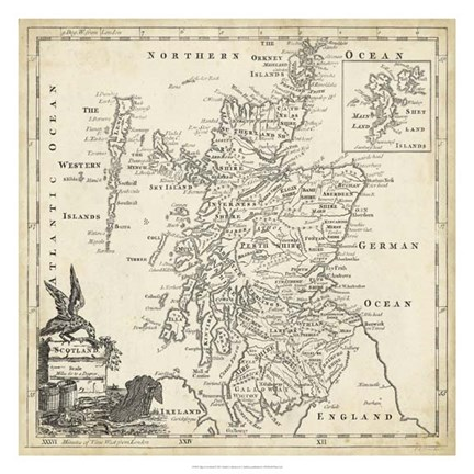 Framed Map of Scotland Print