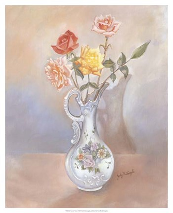 Framed Vase of Roses Print