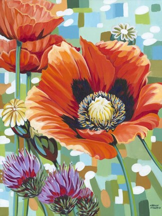 Framed Vivid Poppies II Print