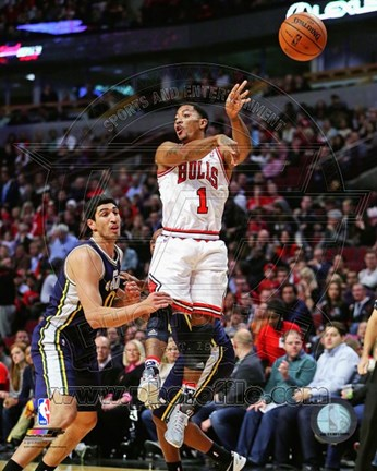 Framed Derrick Rose 2013-14 shooting the ball Print