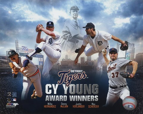 Framed Detroit Tigers Cy Young Winners Portrait Plus Print