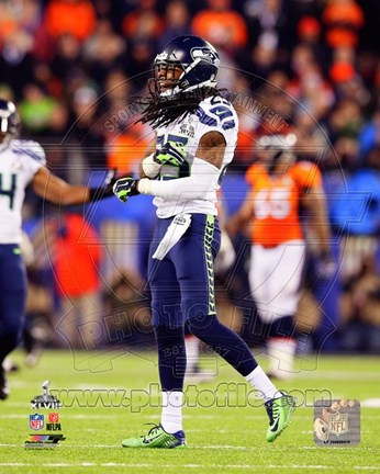 Framed Richard Sherman Celebrates Super Bowl XLVIII Print