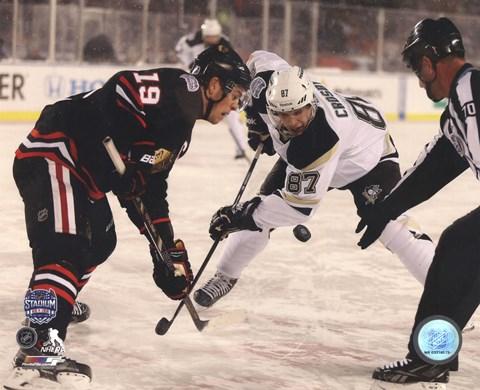 timeless design bc1ee a1b89 Jonathan Toews & Sidney Crosby 2014 NHL Stadium Series Action