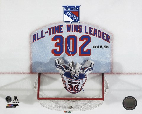 Framed Henrik Lundqvist New York Rangers All-Time Wins Leader 302 Wins Overlay Print