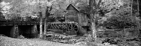 Framed Black & White View of Glade Creek Grist Mill, Babcock State Park, West Virginia, USA Print