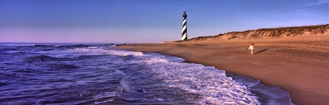 Framed Lighthouse on the beach, Cape Hatteras, North Carolina, USA Print