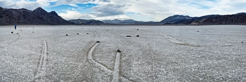 Track created by one of the mysterious moving rocks at the Racetrack, Death Valley, Death Valley National Park, California, USA by Panoramic Images