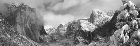 Framed Black and white view of Mountains and waterfall in snow, El Capitan, Yosemite National Park, California Print