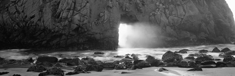 Rock formation on the beach in black and white, Big Sur, California by Panoramic Images
