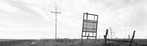 Framed Signboard in the field, Manhattan, Kansas, USA Print