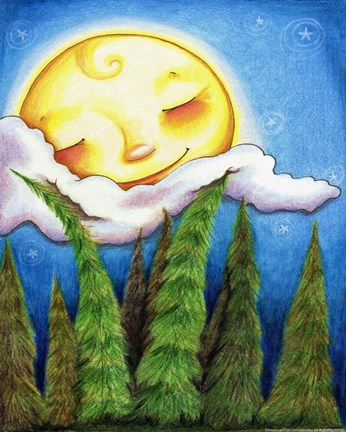Framed Sleep Sweet Forest Moon Print