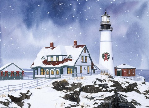 Lighthouse In Winter Fine Art Print By William