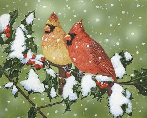 Framed Wintery Cardinals Print