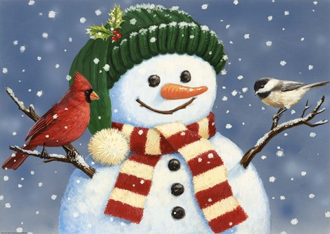 Snowman With Cardinal And Chickadee Fine Art Print By