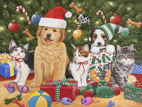 Puppies Amp Kittens Christmas Fine Art Print By William