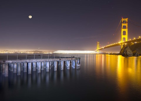 Framed Golden Gate Pier and Stars Print