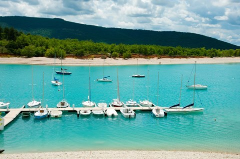 Framed Boats at a harbor, Port Margaridon, Lake of Sainte-Croix, Var, Provence-Alpes-Cote d'Azur, France Print