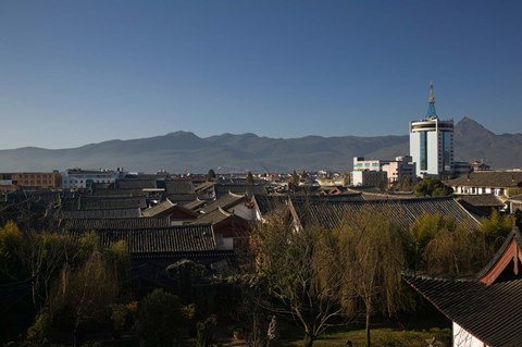 Framed High angle view of buildings in the new town viewed from Mu Family Mansion, Lijiang, Yunnan Province, China Print