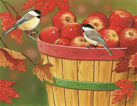 Framed Apples In Basket With Chickadees Print