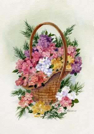 Framed Basket Of Phlox Print