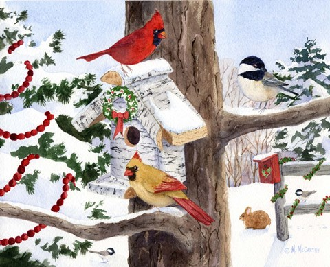 Framed Winter Birdhouse And Cardinals Print