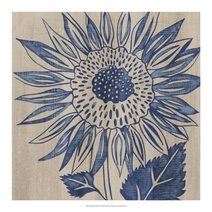 Framed Indigo Sunflower Print