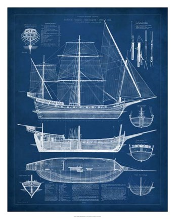 Antique Ship Blueprint I Fine Art Print By Vision Studio