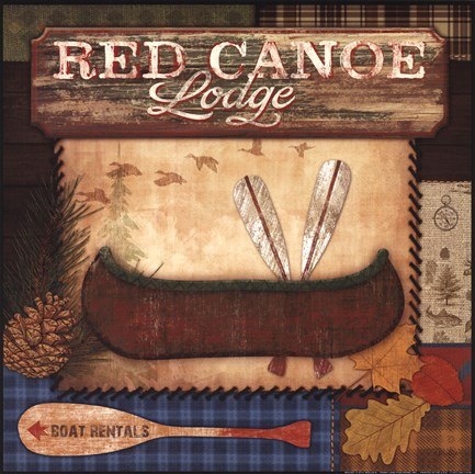 Framed Red Canoe Lodge Print