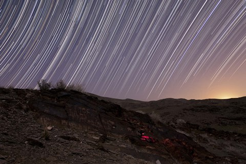 Framed Star trails and rock art in the central province of Iran Print