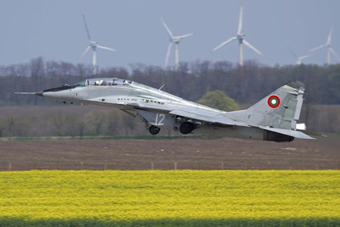 Framed Bulgarian Air Force MiG-29UB aircraft taking off Print
