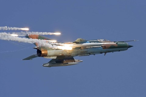 Framed Romanian Air Force MiG-21 MF LanceR popping flares Print