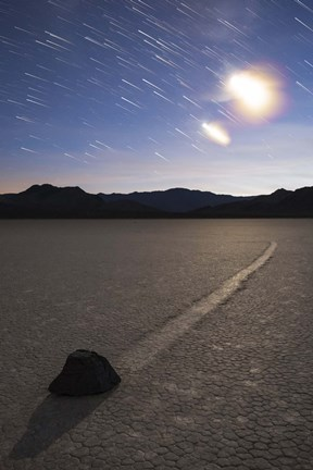 Framed Star trails at the Racetrack Playa in Death Valley National Park, California Print