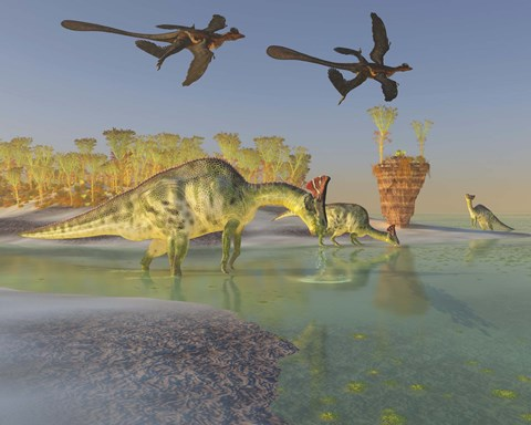 Framed Olorotitan eat duckweed in a large swamp as two Microraptors fly above Print