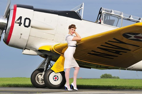 1940 S Style Navy Pin Up Girl Leaning On The Wing Of A T 6