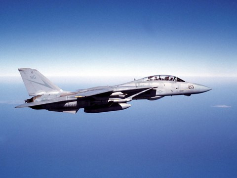F-14A Tomcat in flight above the Pacific Ocean by Dave Baranek
