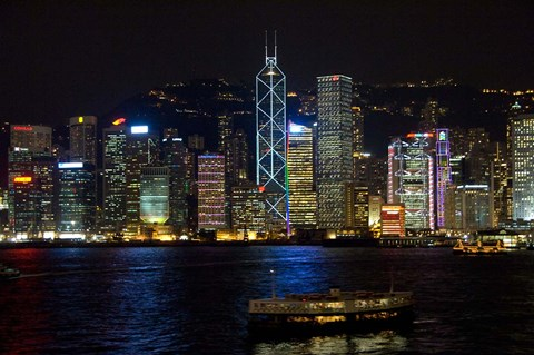 Framed Hong Kong, Victoria Harbor, city skyline Print