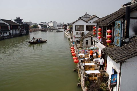Framed View of river village with boats, Zhujiajiao, Shanghai, China Print