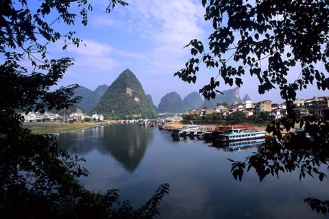 Framed Wonderful ragged Limestone Mountains and Li River and city life of Yangshuo area of China Print