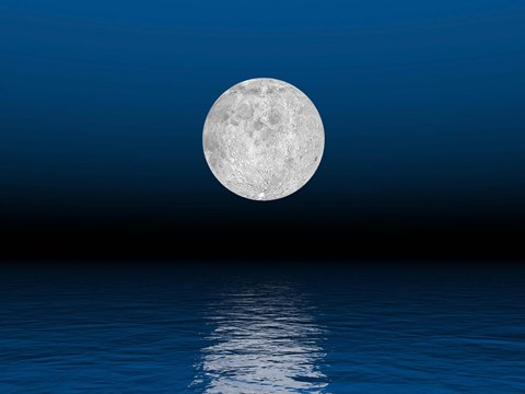 Framed Beautiful full moon against a deep blue sky over the ocean Print