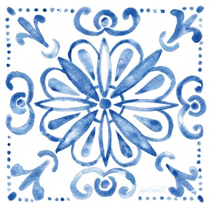 Framed Tile Stencil IV Blue Print