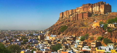Framed Cityscape of the Blue City with Meherangarh, Majestic Fort, Jodhpur, Rajasthan, India Print