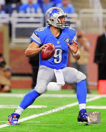 Framed Matthew Stafford Looking For Receiver Print