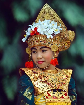 Framed Young Balinese Dancer in Traditional Costume, Bali, Indonesia Print