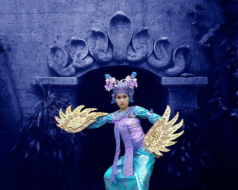 Framed Balinese Dancer in Front of Temple in Ubud, Bali, Indonesia Print