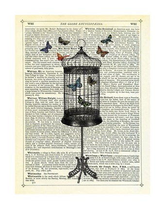 Framed Bird Cage & Butterflies Print